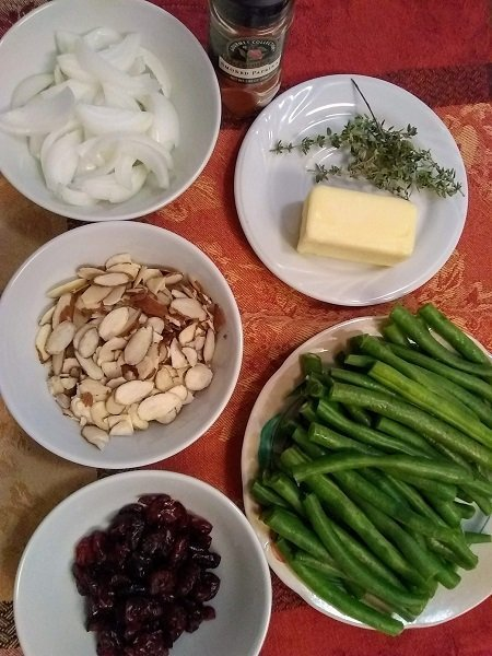 green beans and almond salad ingredients