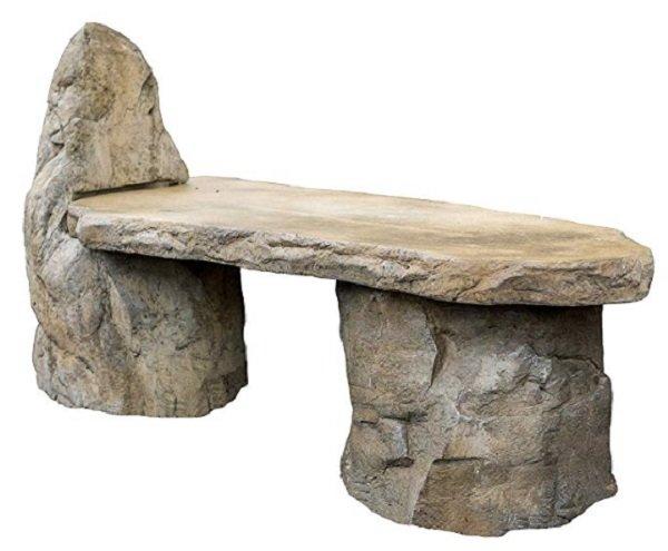 basalt stone garden bench
