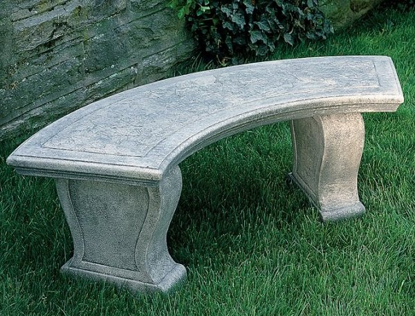 curved stone garden bench