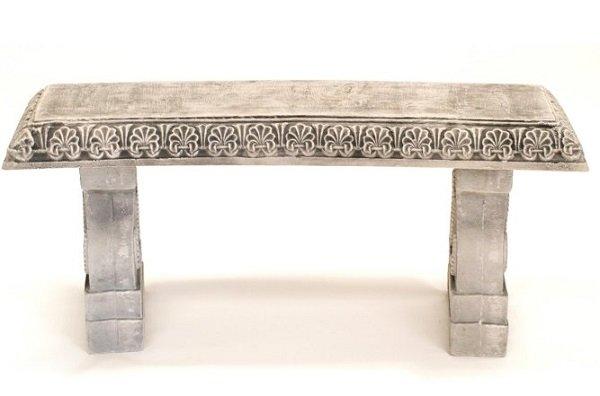clay garden bench
