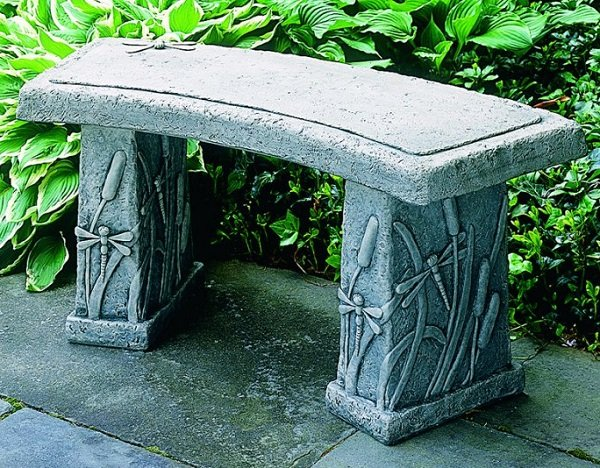 dragonfly stone bench