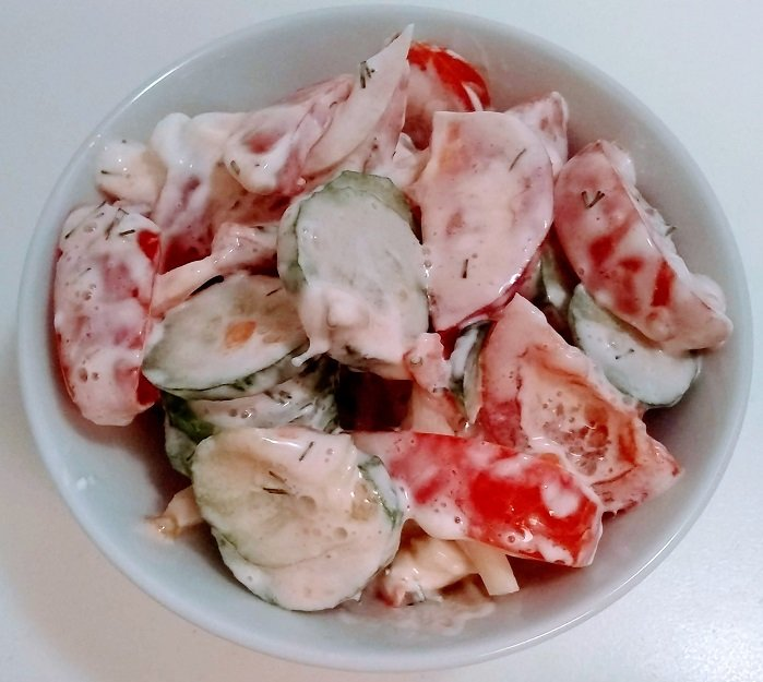 summer salad with sour cream