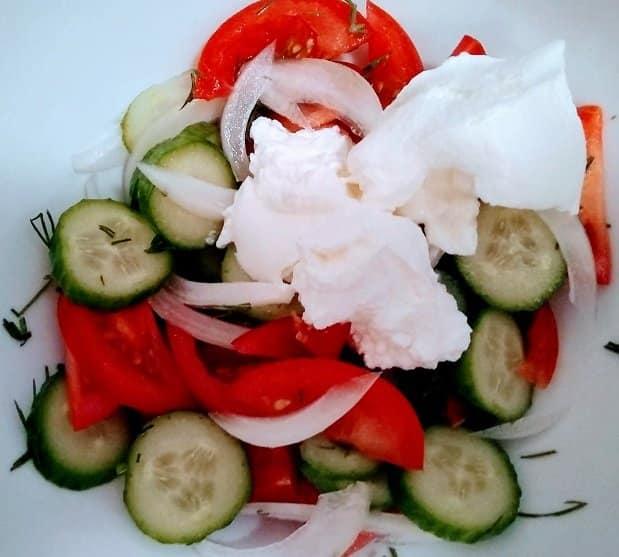 summer salad: adding sour cream