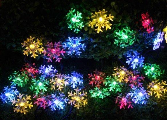 snowflake solar Christmas lights
