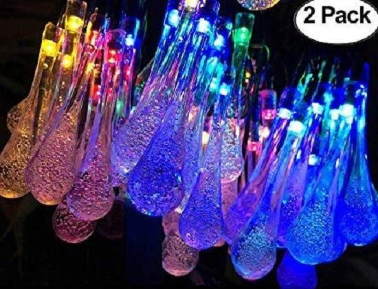 raindrop solar powered lights