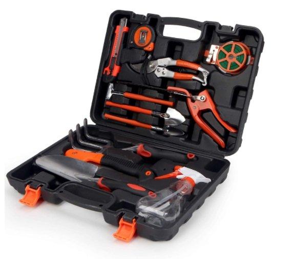 garden tool set with storage organizer