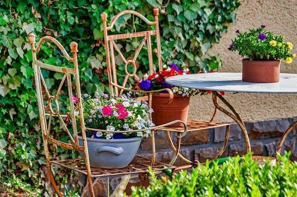 outdoor sitting in small garden