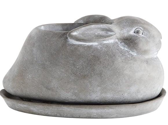 rabbit planter with saucer
