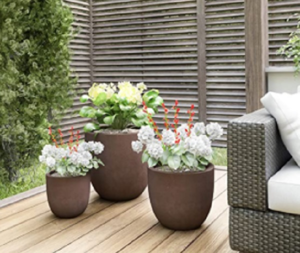 fiberglass planters, set of 3