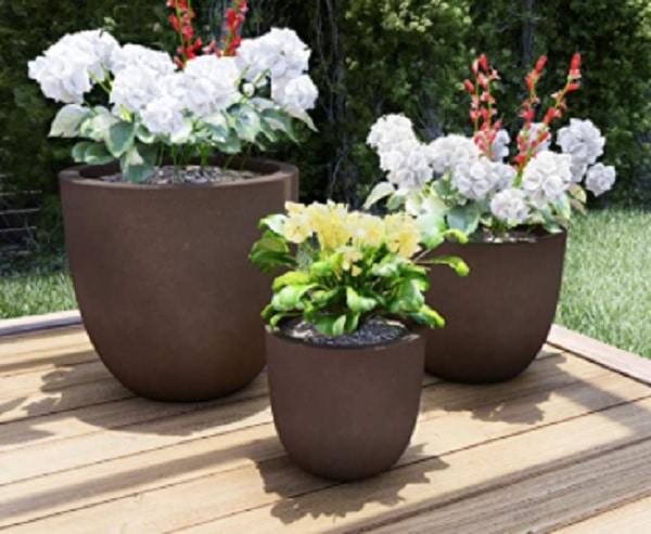 fiberclay planters - set of 3